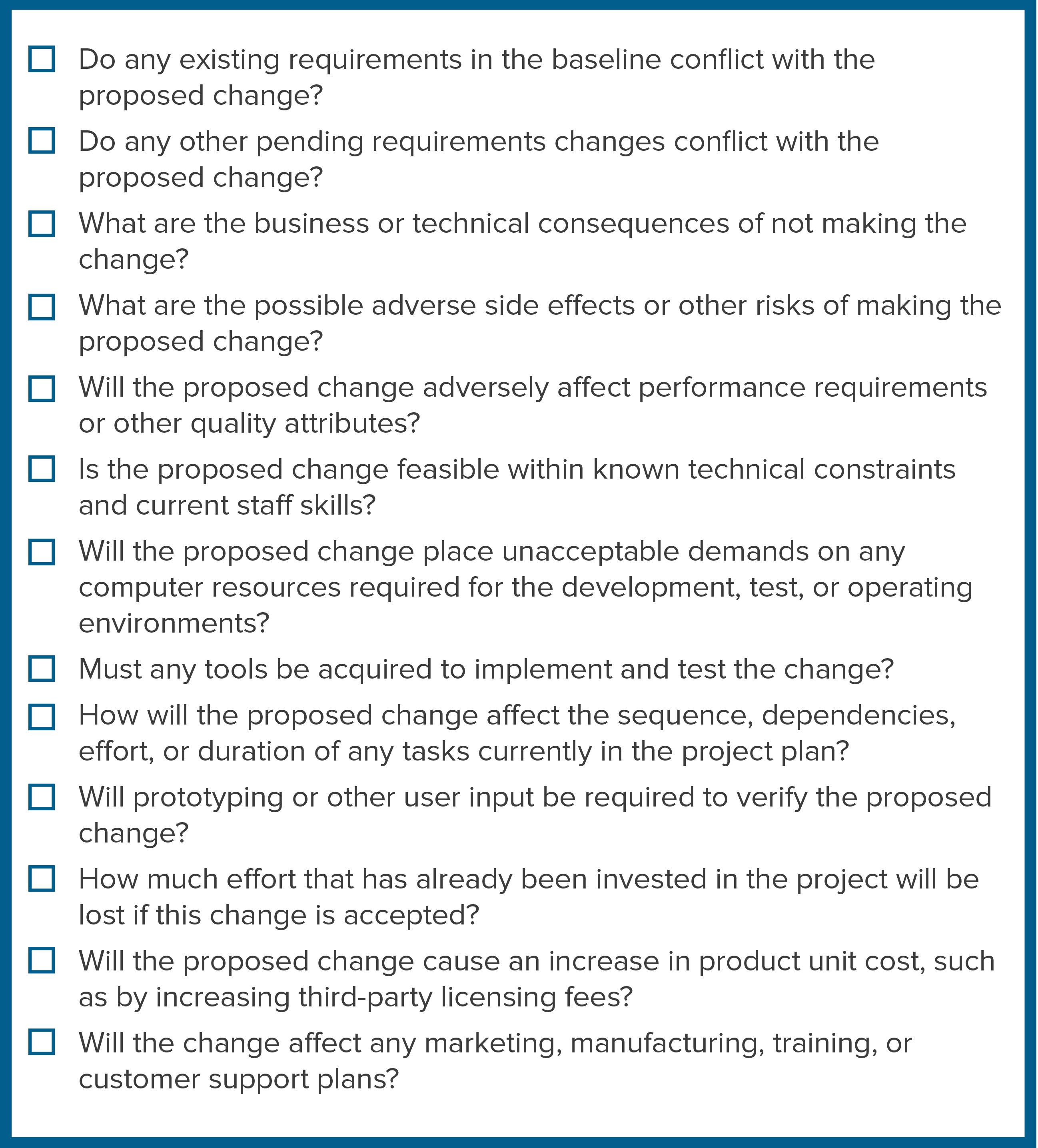 Checklist of possible implications of a proposed change.