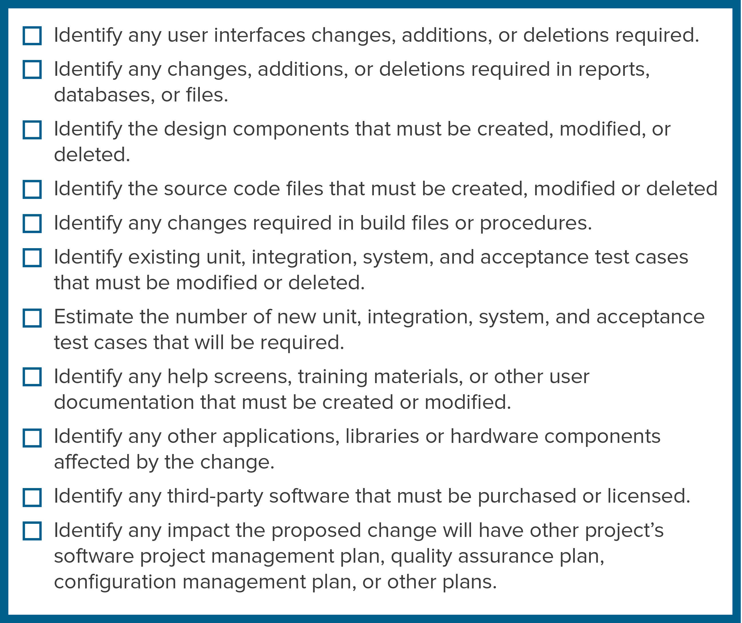 Checklist of possible software elements affected by a proposed change.